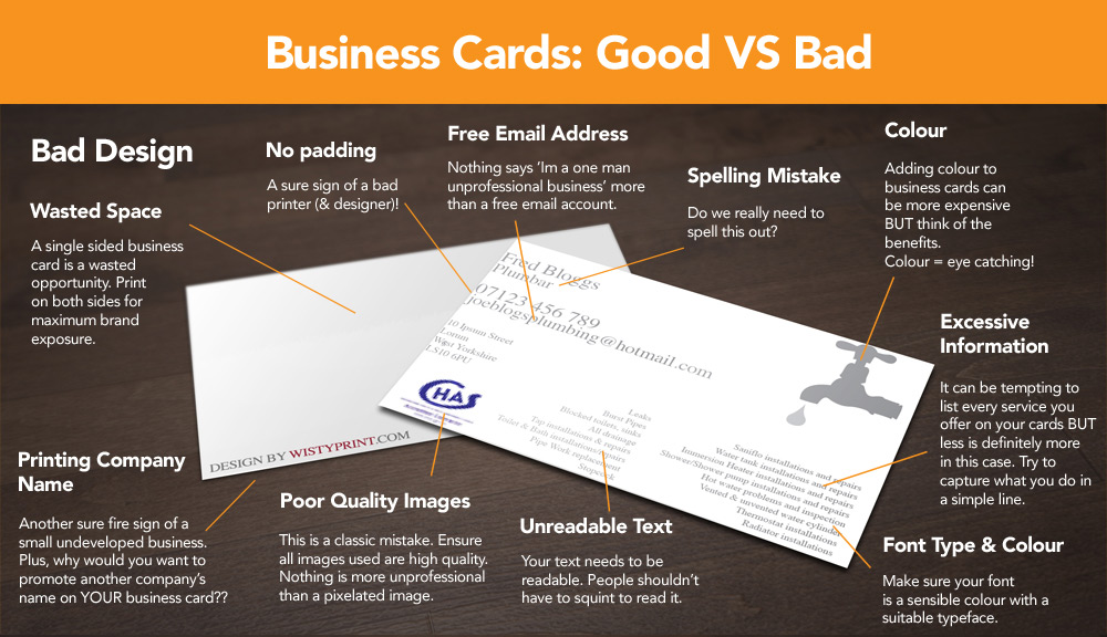 Infographic Good Business Card Design Vs Bad Xpand Marketing