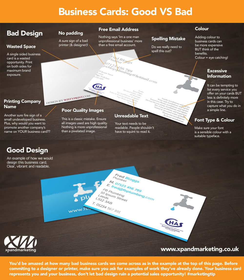 Infographic Good Business Card Design Vs Bad Xpand