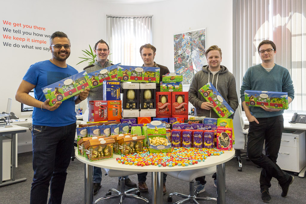 Xpand staff posing with Easter eggs for JCI appeal