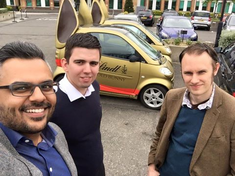 Xpand posing with Lindt Golden Bunny promotional cars