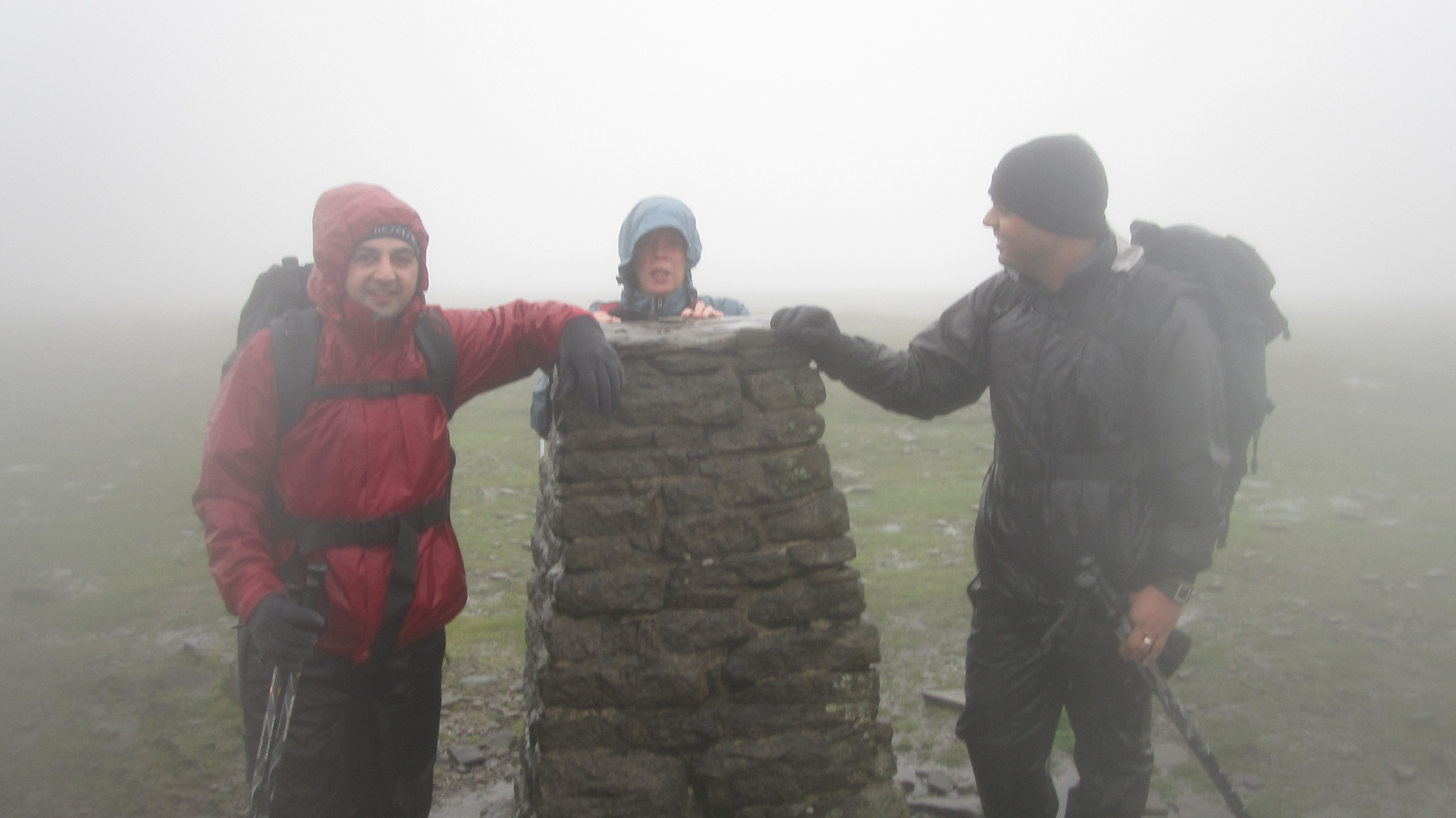 Helen (centre) and Jag (right) taking on the Yorkshire Three Peaks challenge