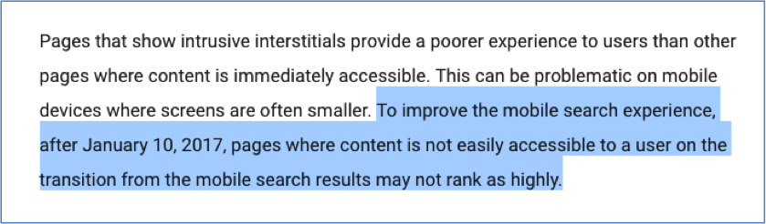Google interstitial policy