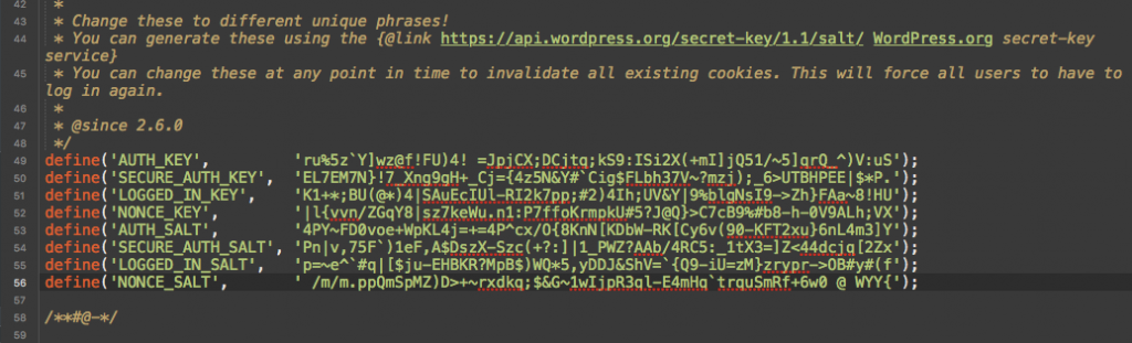 Image of wp-config.php showing wordpress salts