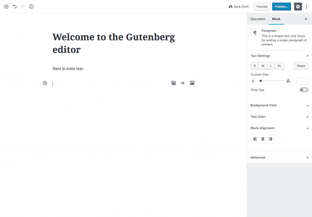 A screenshot of the Gutenberg Editor