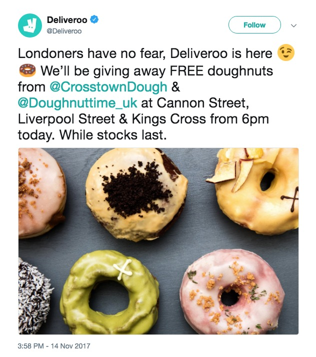 Deliveroo Free Donuts