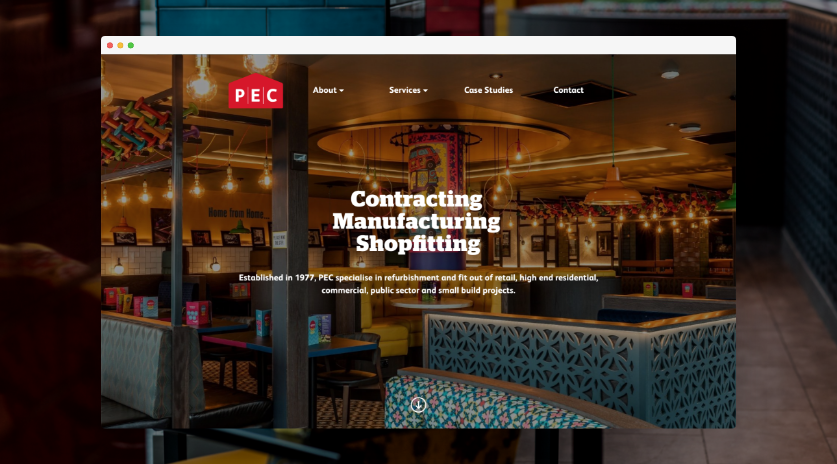 Screenshot of PEC Website