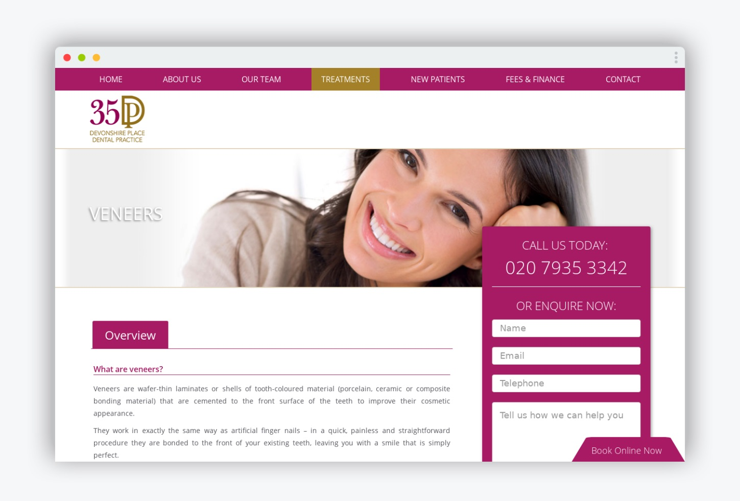 35 Devonshire Place PPC landing pages