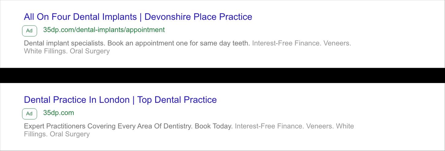 35 Devonshire Place PPC ads