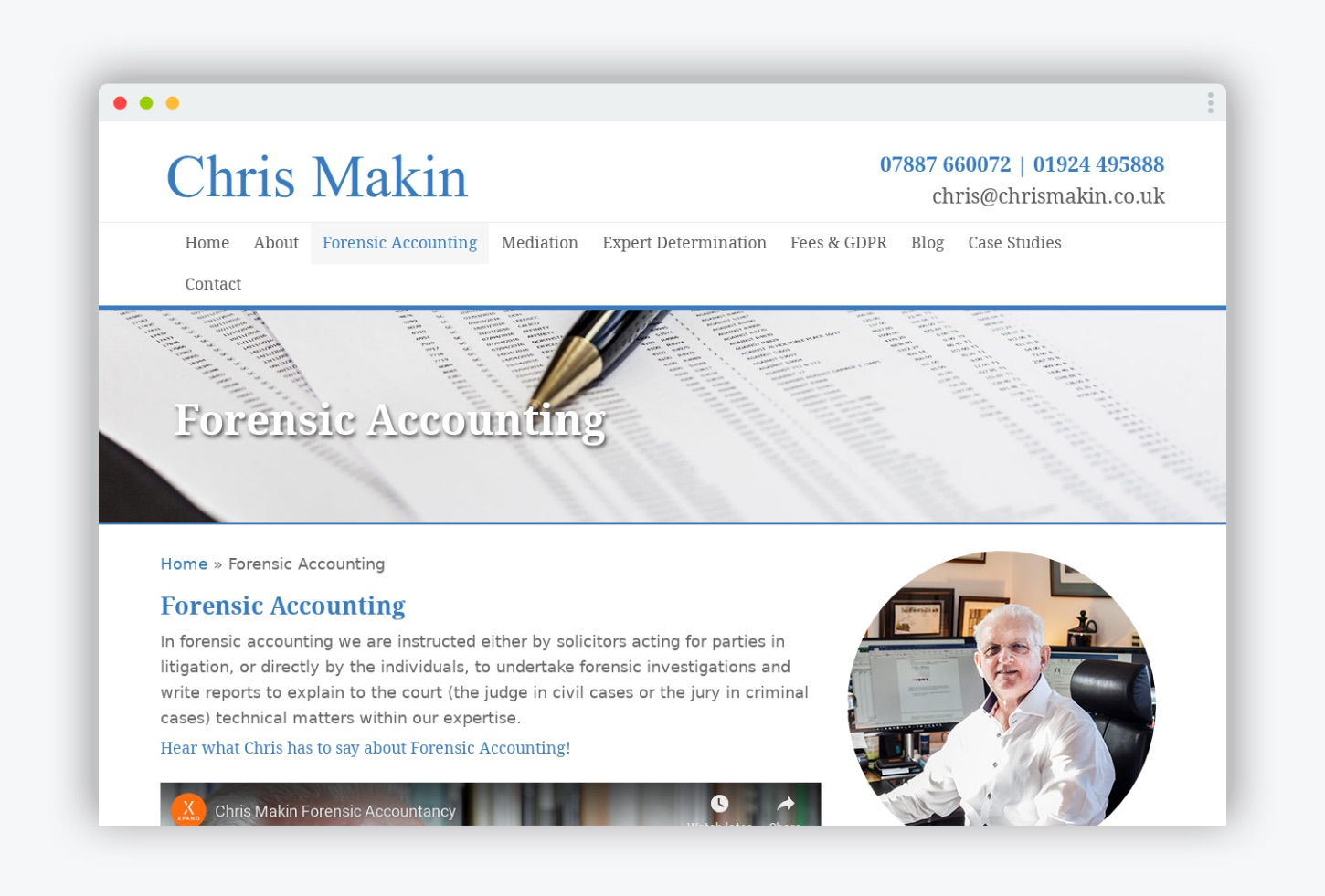 Chris Makin Forensic Accountant home page