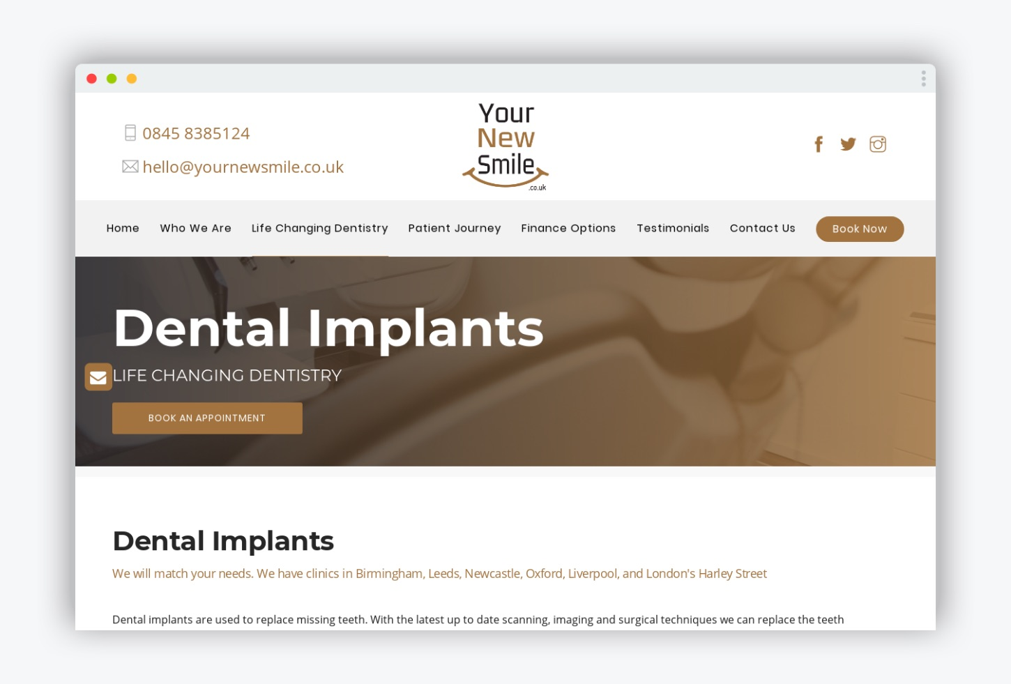 Your New Smile Dental Implants page