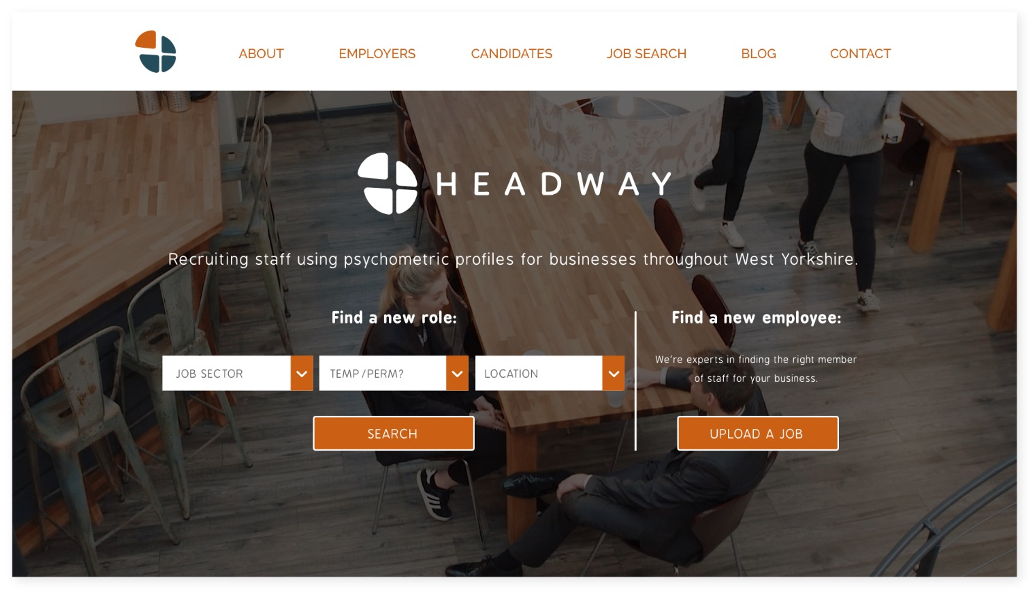 Headway Recruitment website hero area