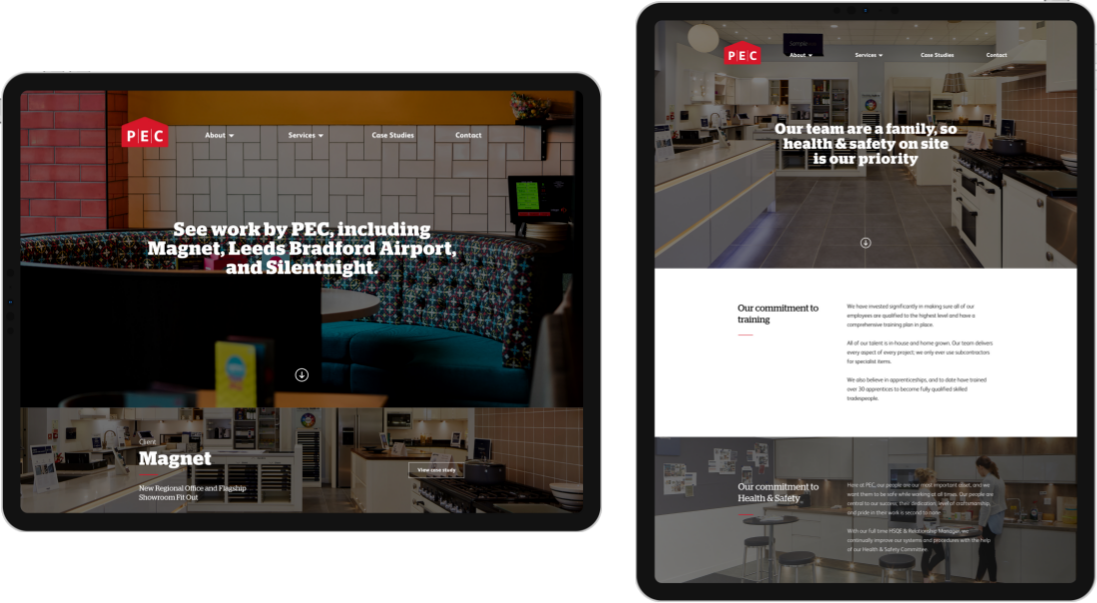 PEC website on tablet