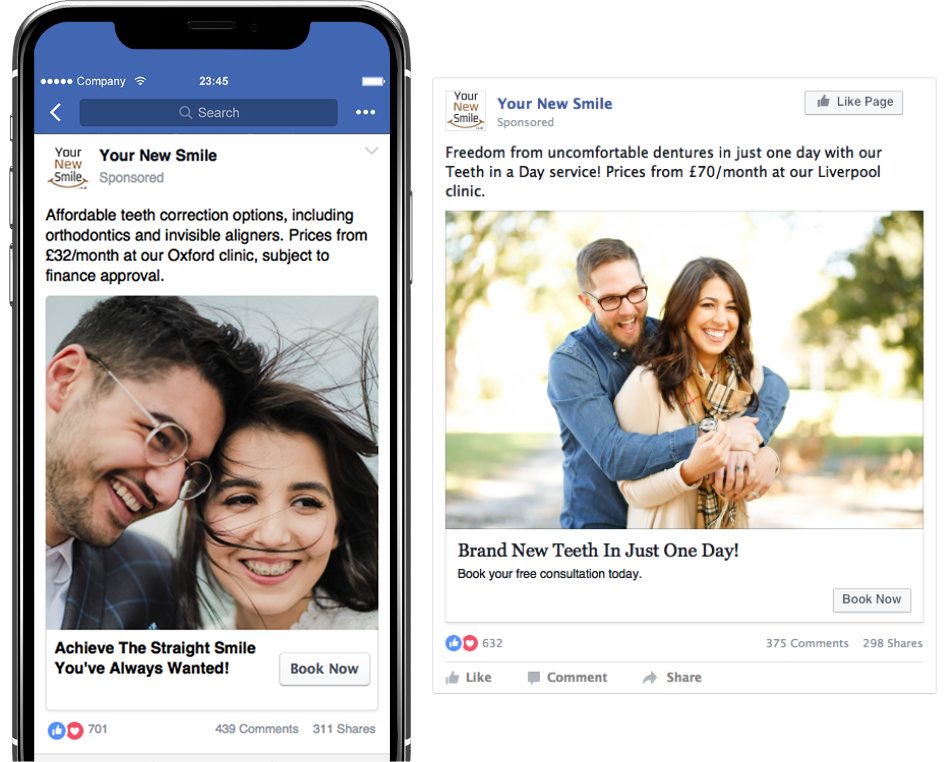 Your New Smile Facebook ads on mobile