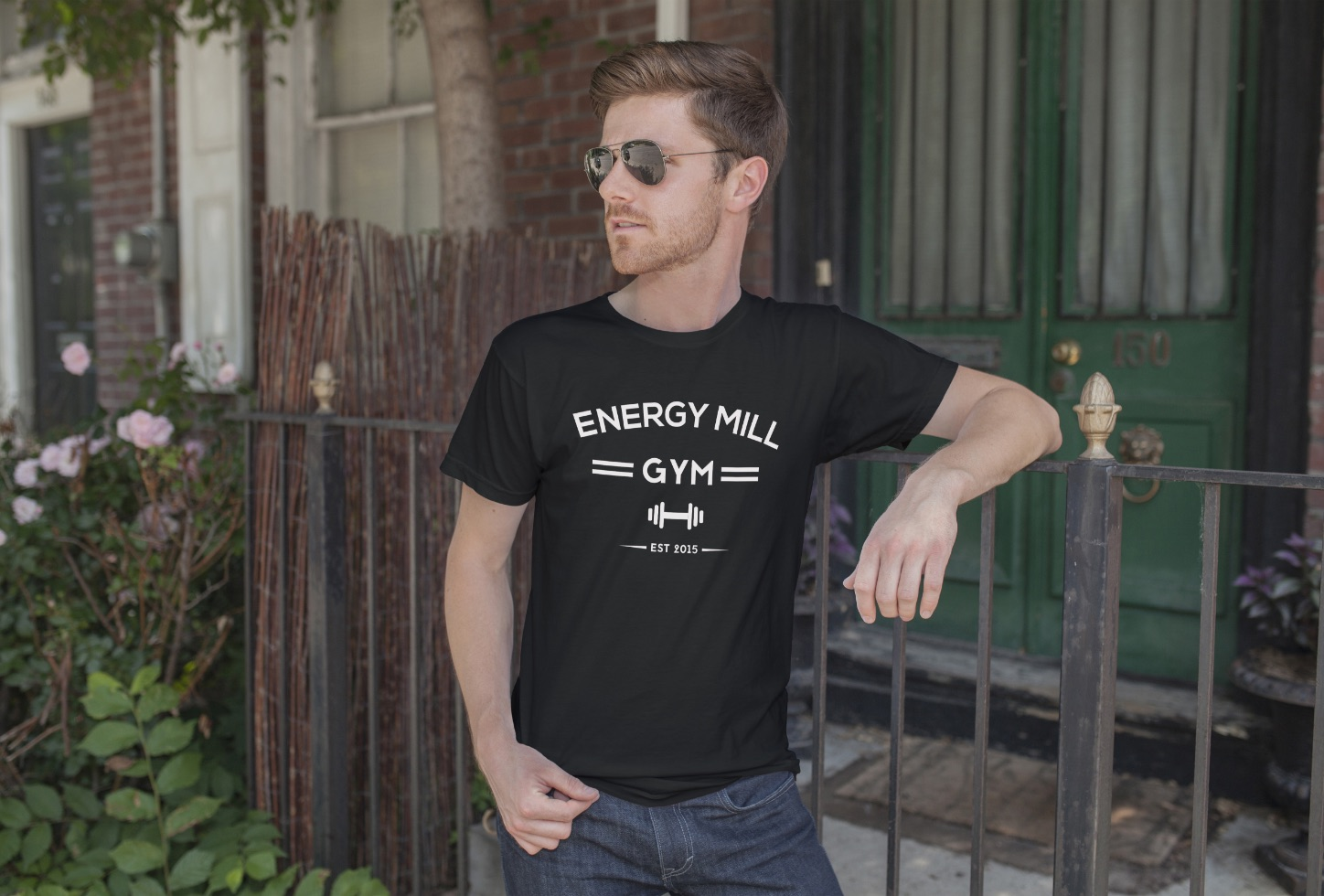 Man posing in an Energy Mill T-Shirt