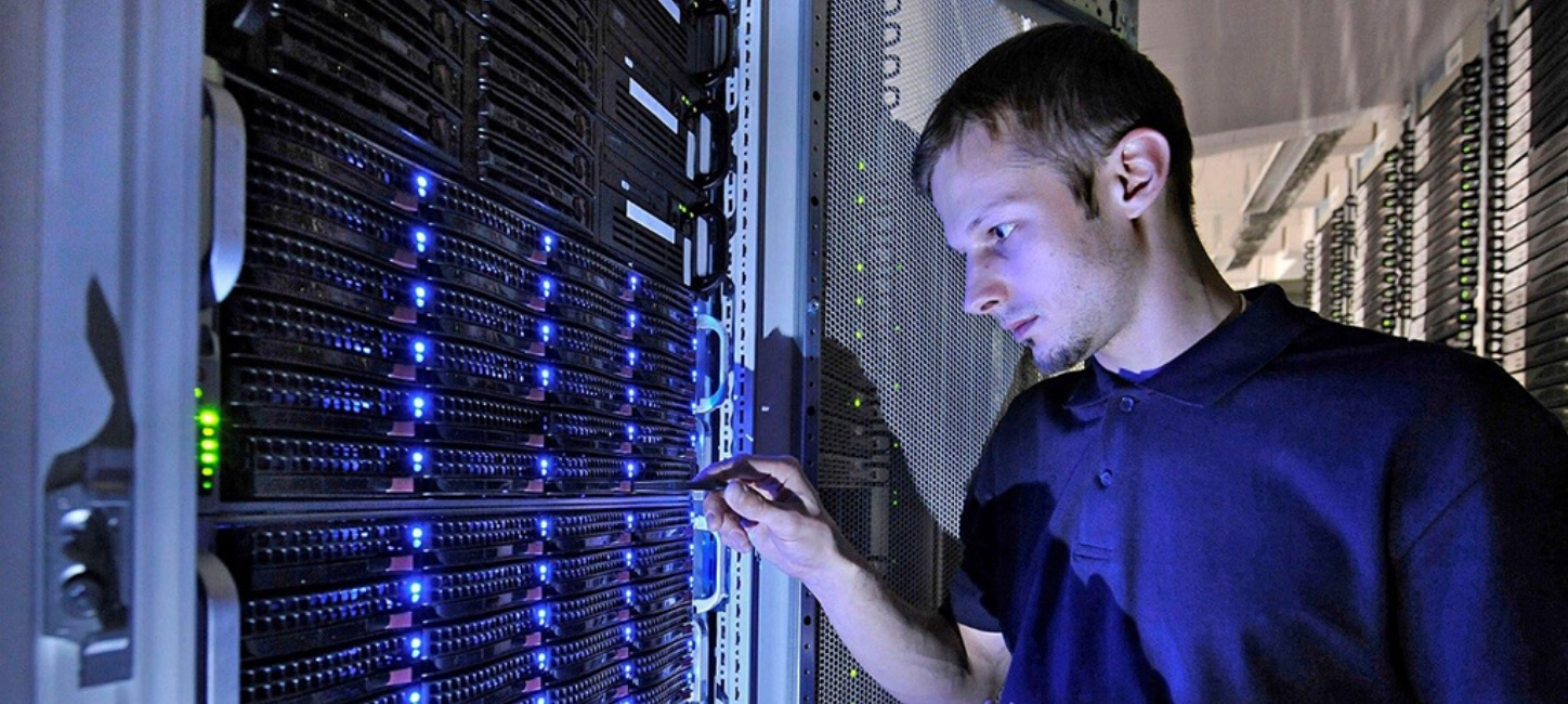Man working with a server
