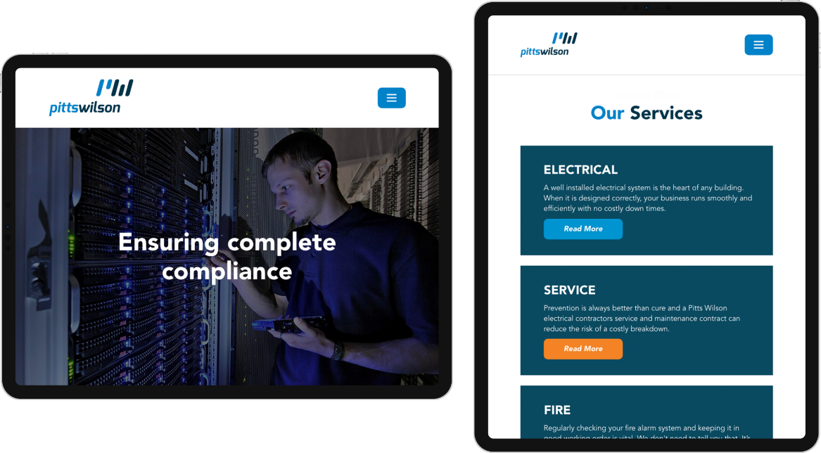 Pitts Wilson Electrical website on tablet