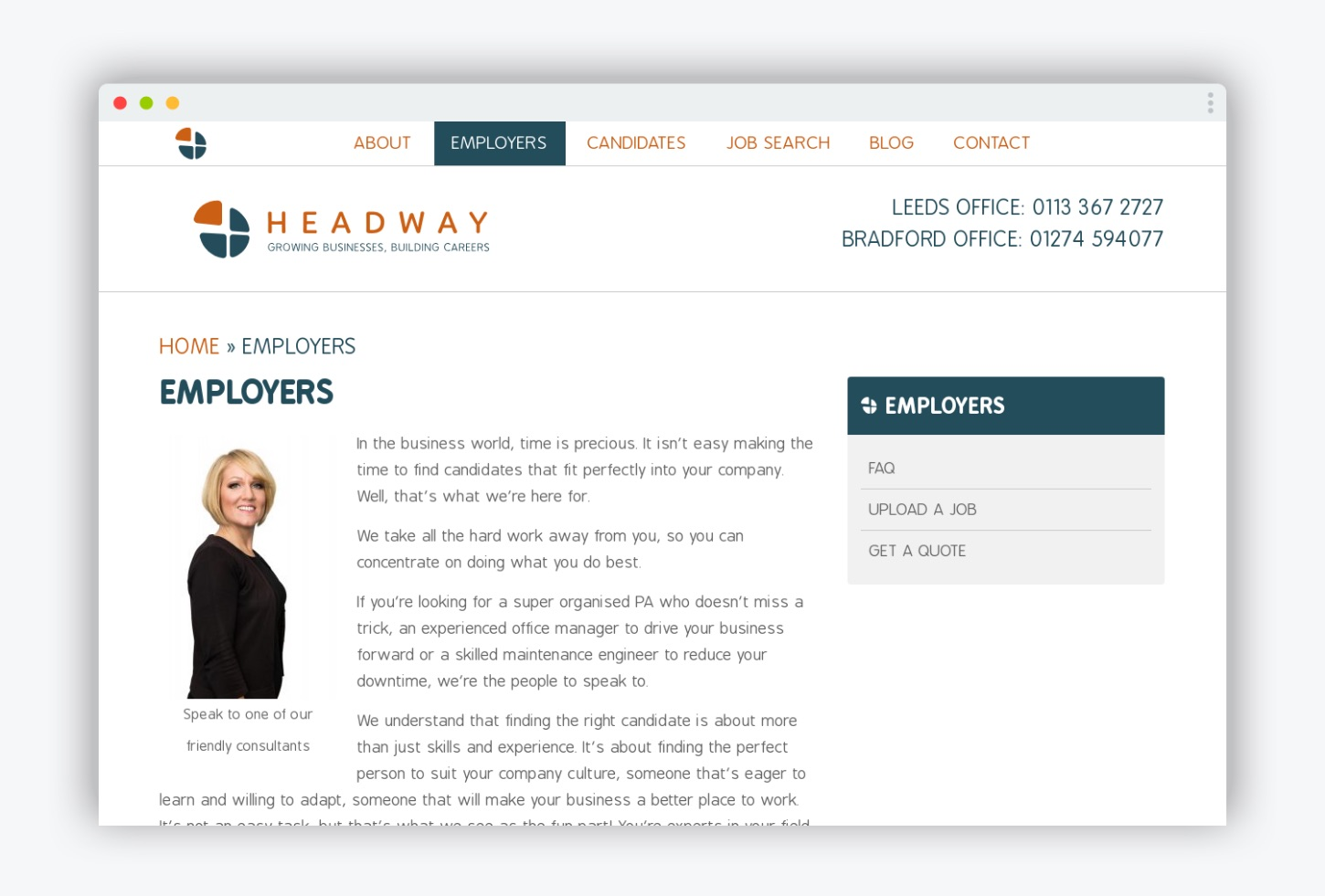 Headway Recruitment website