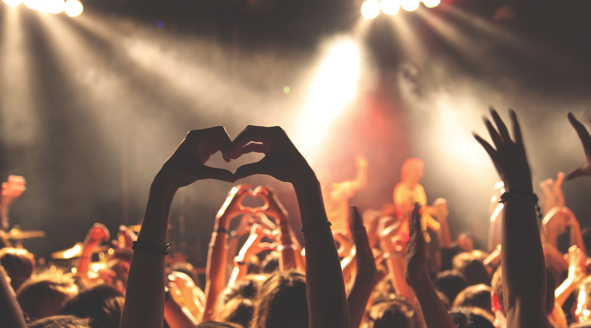 Heart gesture at a concert